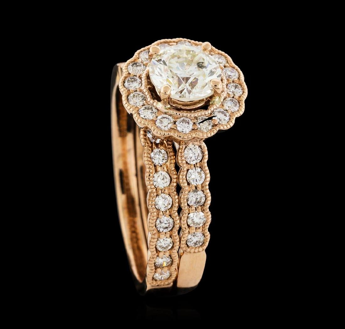 1.56 ctw Diamond Ring and Wedding Band - 14KT Rose Gold - 4