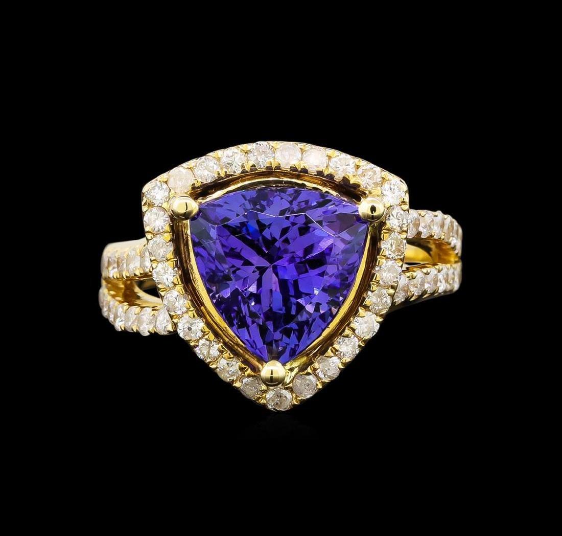 14KT Yellow Gold 5.03 ctw Tanzanite and Diamond Ring - 2