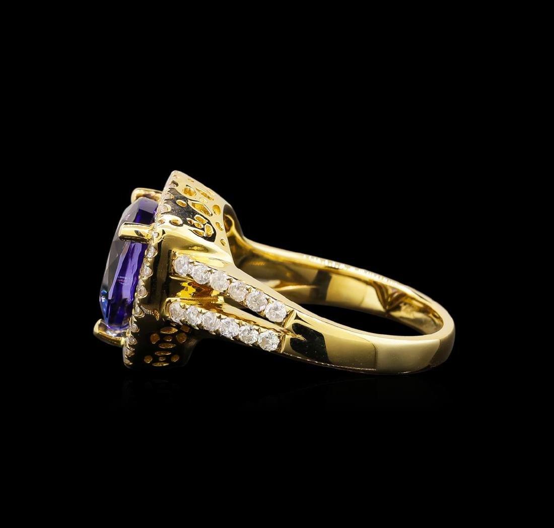 14KT Yellow Gold 5.03 ctw Tanzanite and Diamond Ring - 3