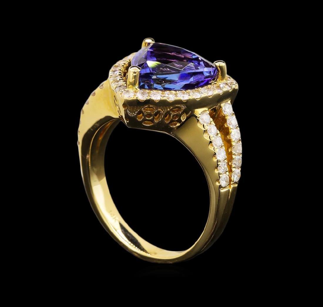 14KT Yellow Gold 5.03 ctw Tanzanite and Diamond Ring - 4