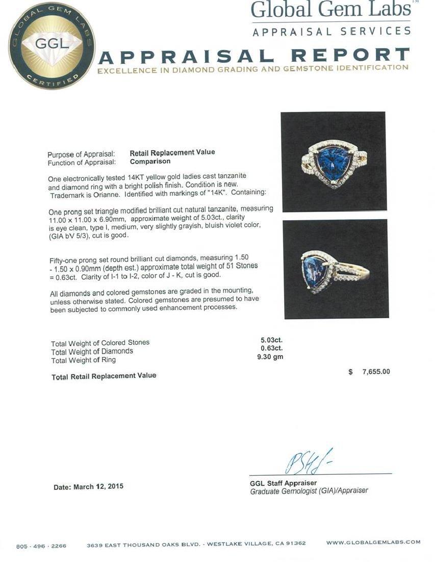 14KT Yellow Gold 5.03 ctw Tanzanite and Diamond Ring - 5