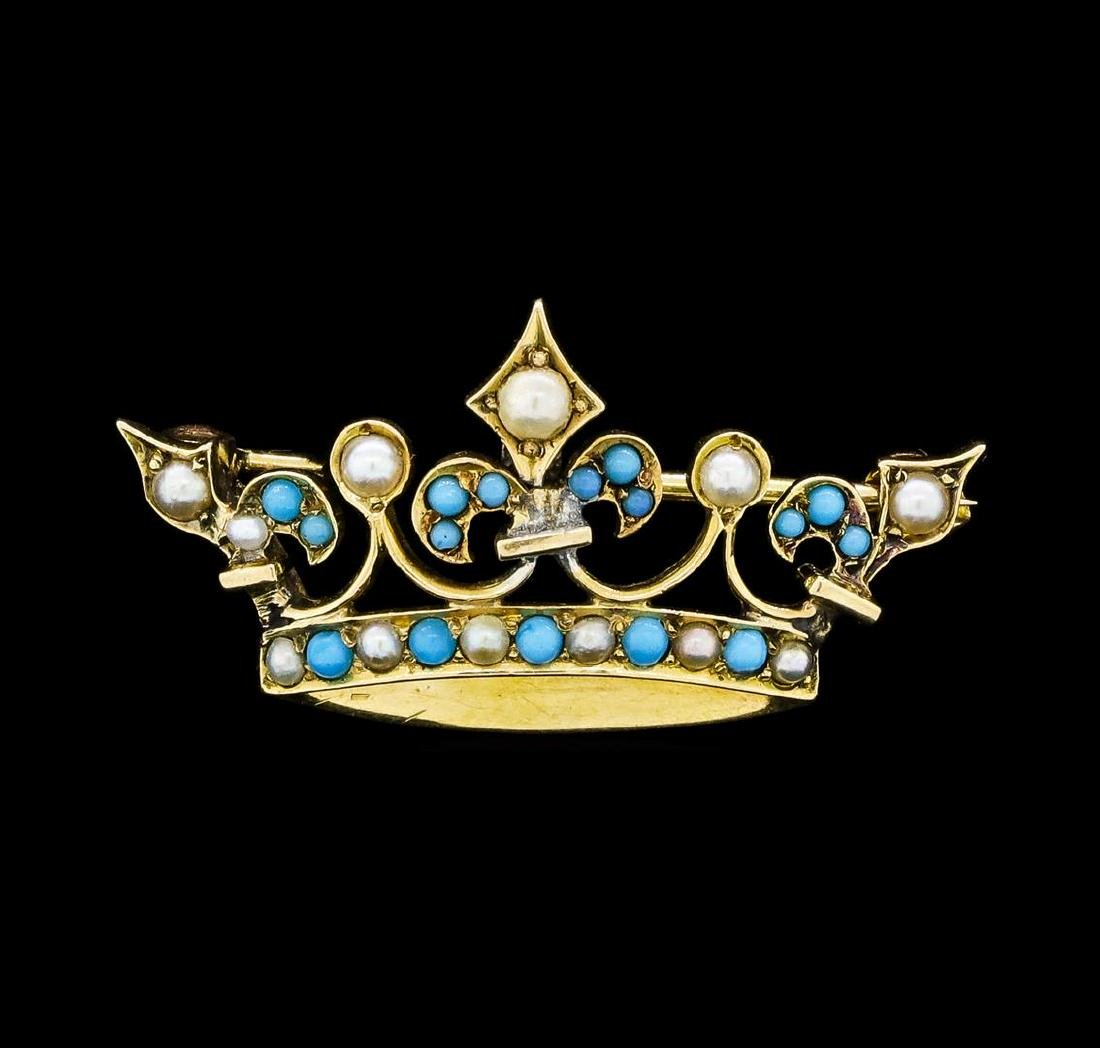 Seed Pearl and Turquoise Crown Motif Pin - 9KT Yellow