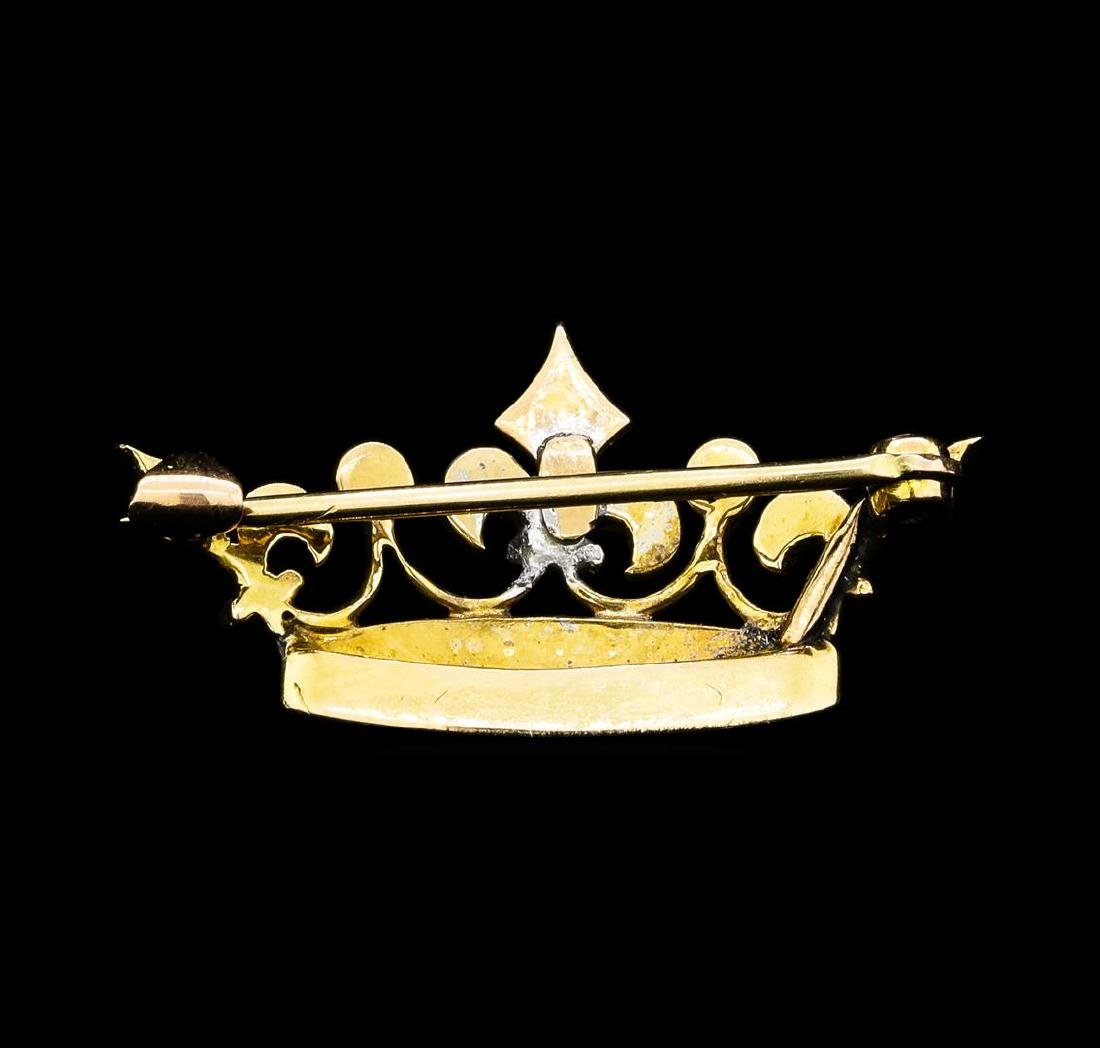 Seed Pearl and Turquoise Crown Motif Pin - 9KT Yellow - 2
