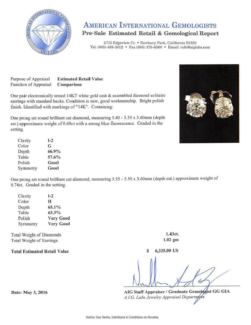 1.43 ctw Diamond Solitaire Earrings - 14KT White Gold - 3