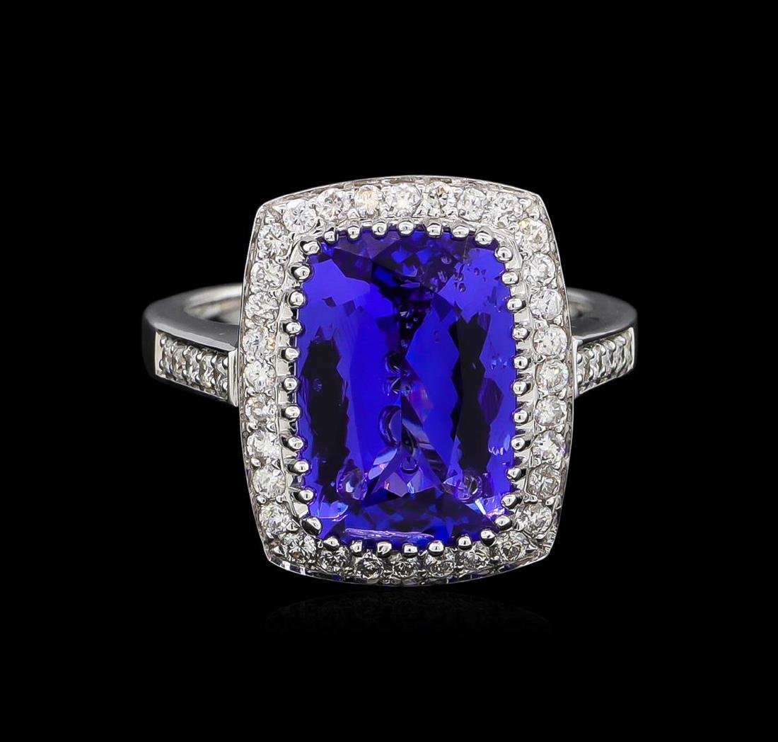 14KT White Gold 5.95 ctw Tanzanite and Diamond Ring - 2