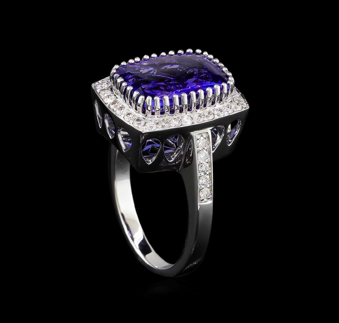 14KT White Gold 5.95 ctw Tanzanite and Diamond Ring - 4