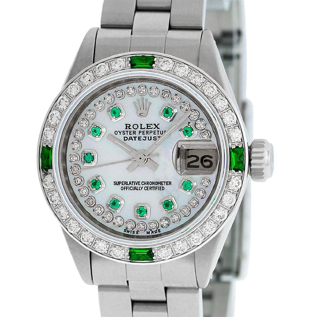 Rolex Ladies Stainless Steel MOP Emerald & Diamond