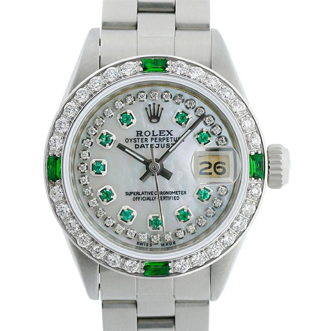 Rolex Ladies Stainless Steel MOP Emerald & Diamond - 2