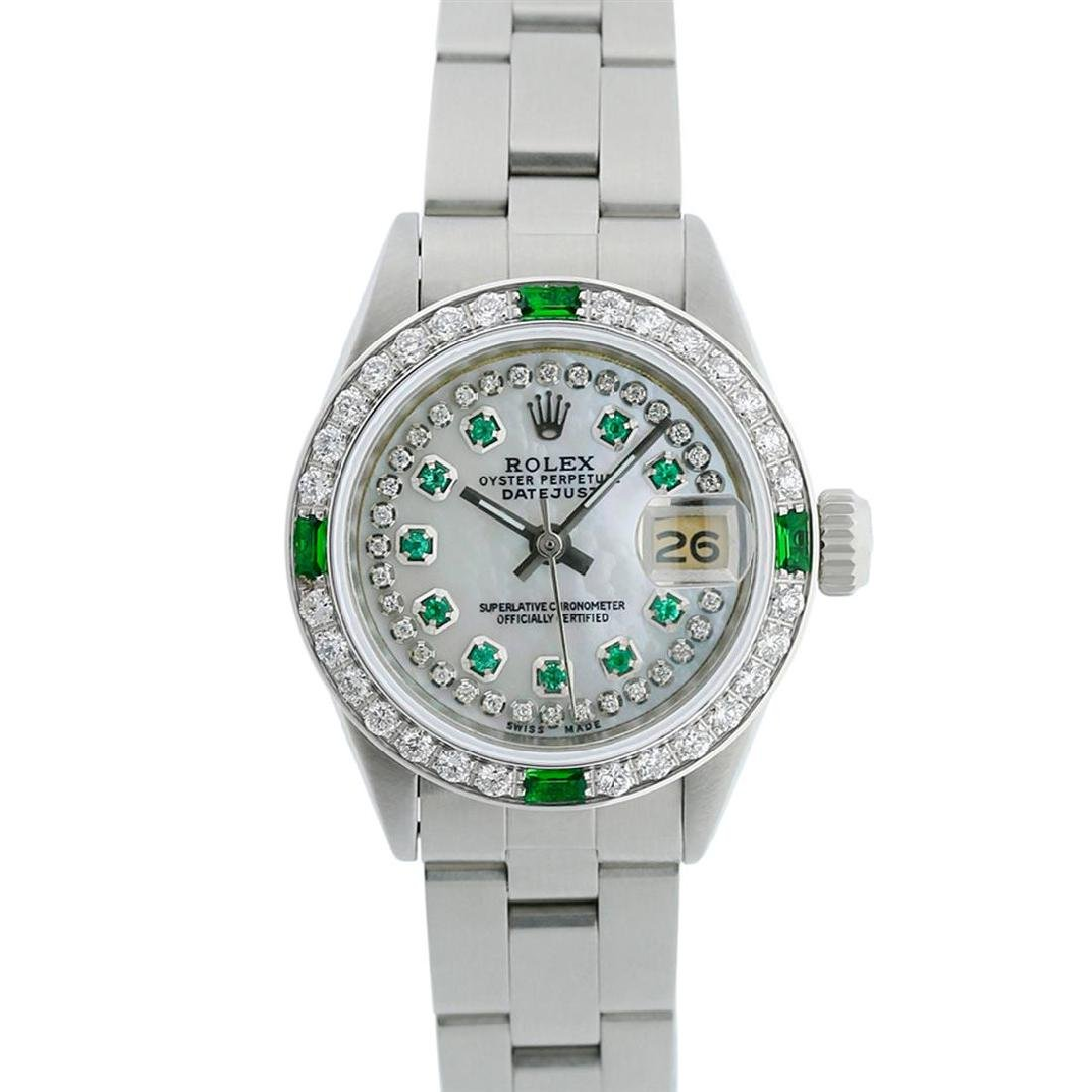 Rolex Ladies Stainless Steel MOP Emerald & Diamond - 3