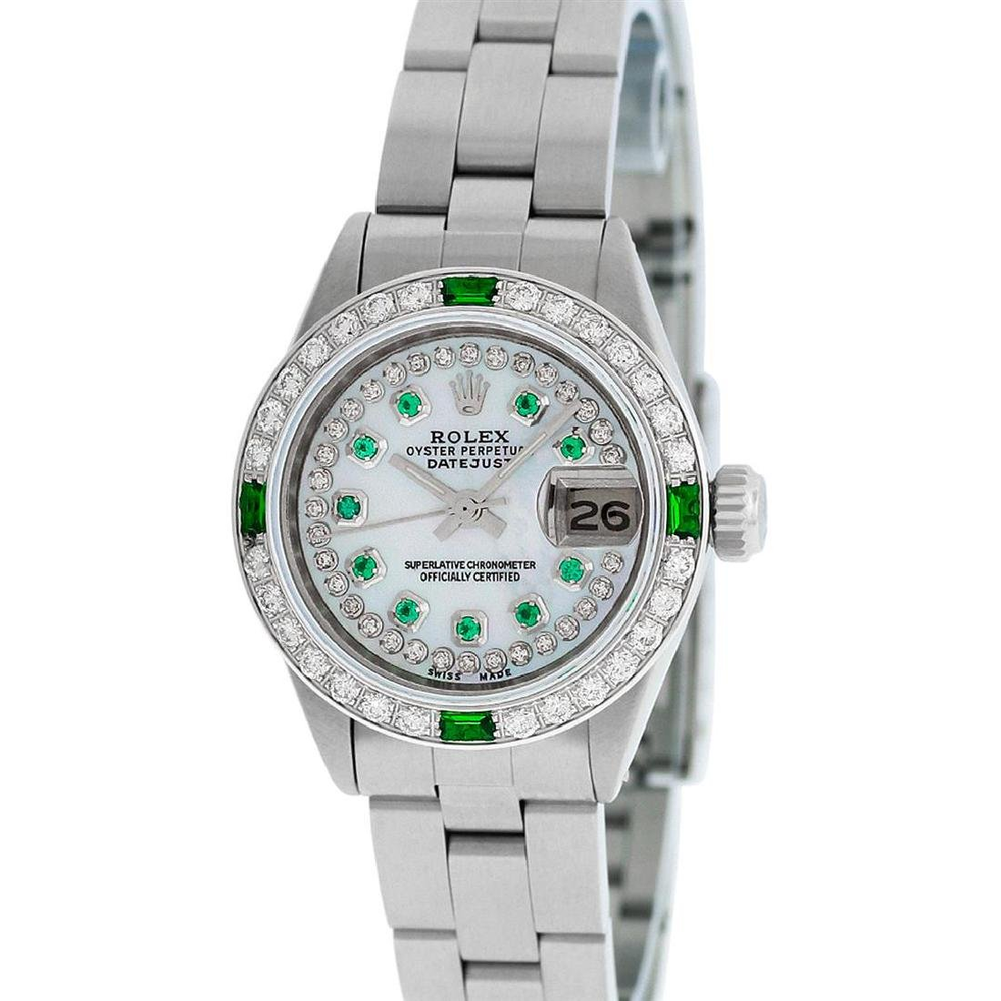 Rolex Ladies Stainless Steel MOP Emerald & Diamond - 4