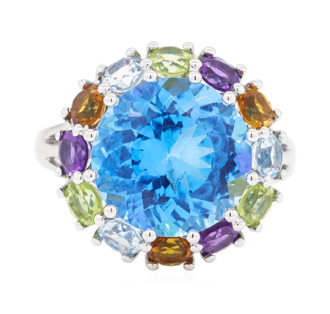 8.16 ctw Multi-Color Semi-Precious Gemstone Ring - 14KT - 2