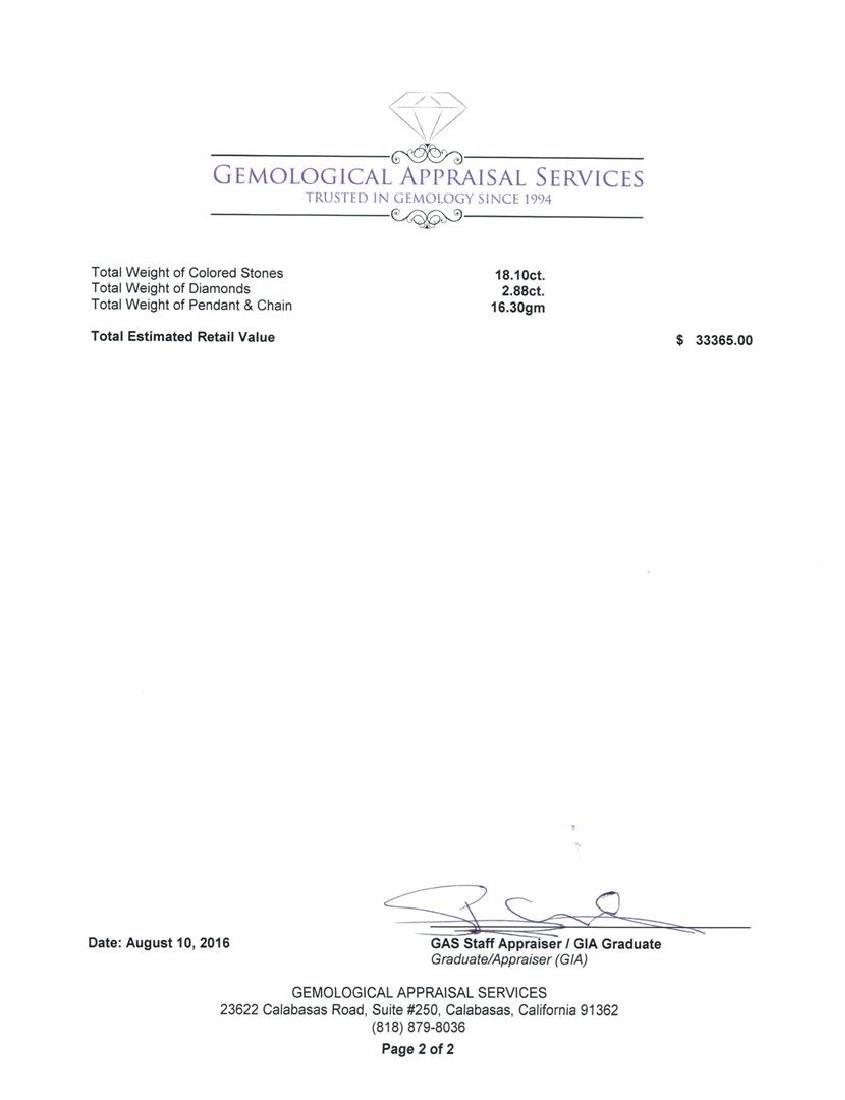 GIA Cert 16.70 ctw Tanzanite, Sapphire and Diamond - 4