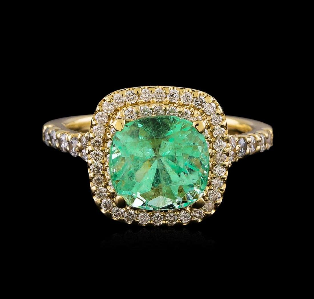 3.01 ctw Emerald and Diamond Ring - 14KT Yellow Gold - 2