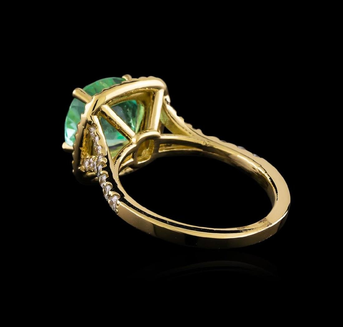 3.01 ctw Emerald and Diamond Ring - 14KT Yellow Gold - 3