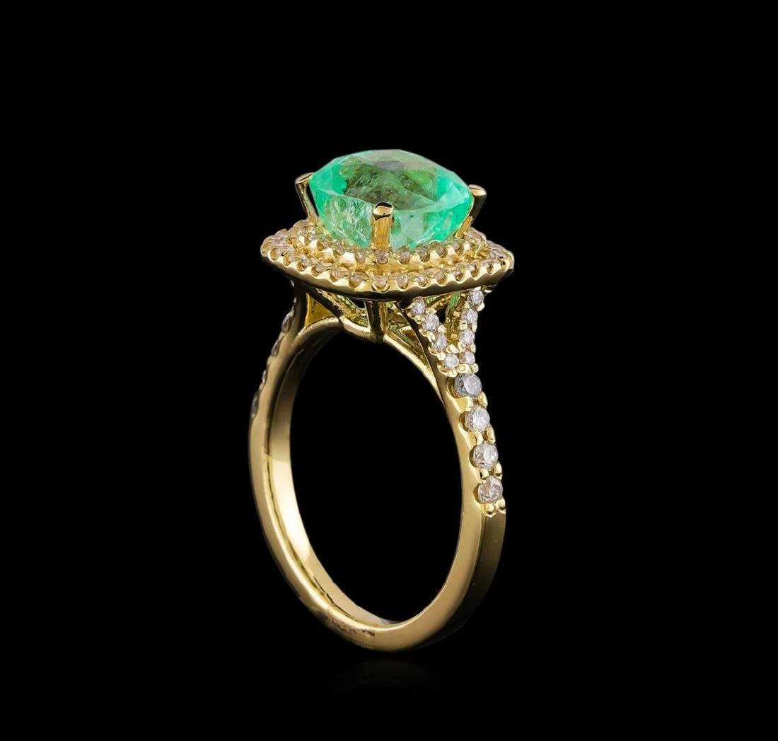 3.01 ctw Emerald and Diamond Ring - 14KT Yellow Gold - 4