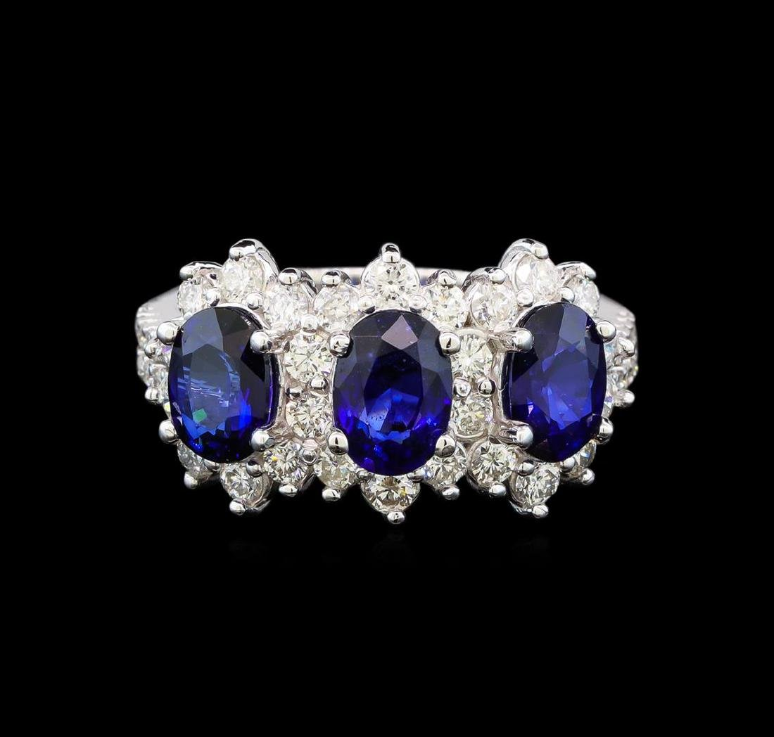 14KT White Gold 3.00 ctw Sapphire and Diamond Ring - 2