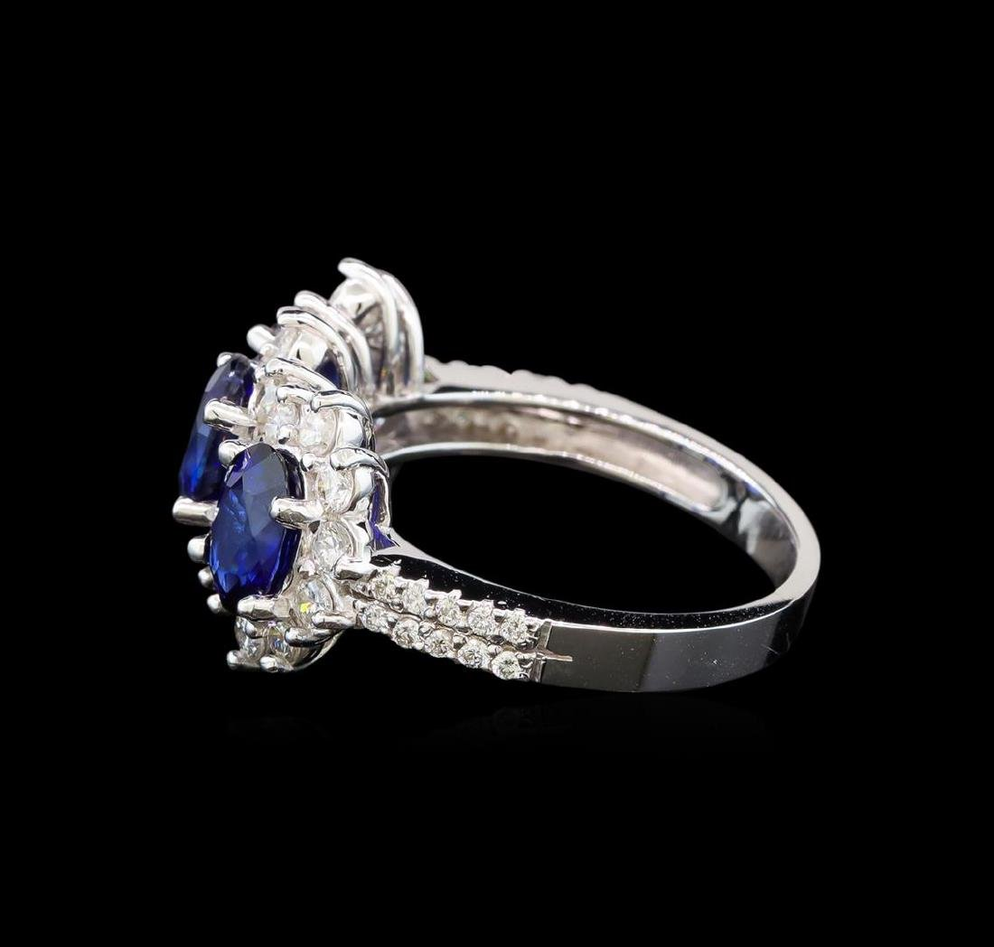 14KT White Gold 3.00 ctw Sapphire and Diamond Ring - 3