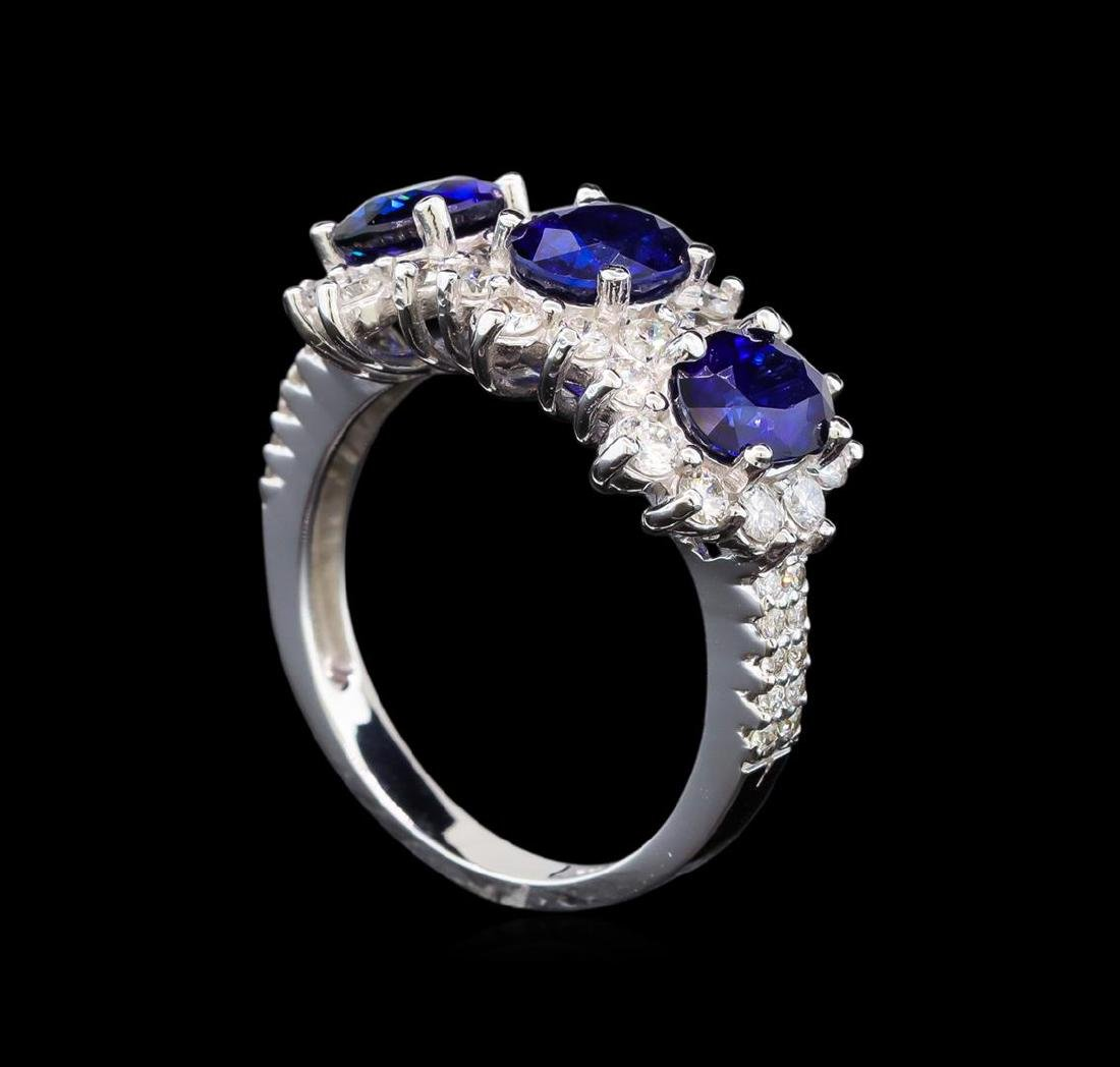 14KT White Gold 3.00 ctw Sapphire and Diamond Ring - 4