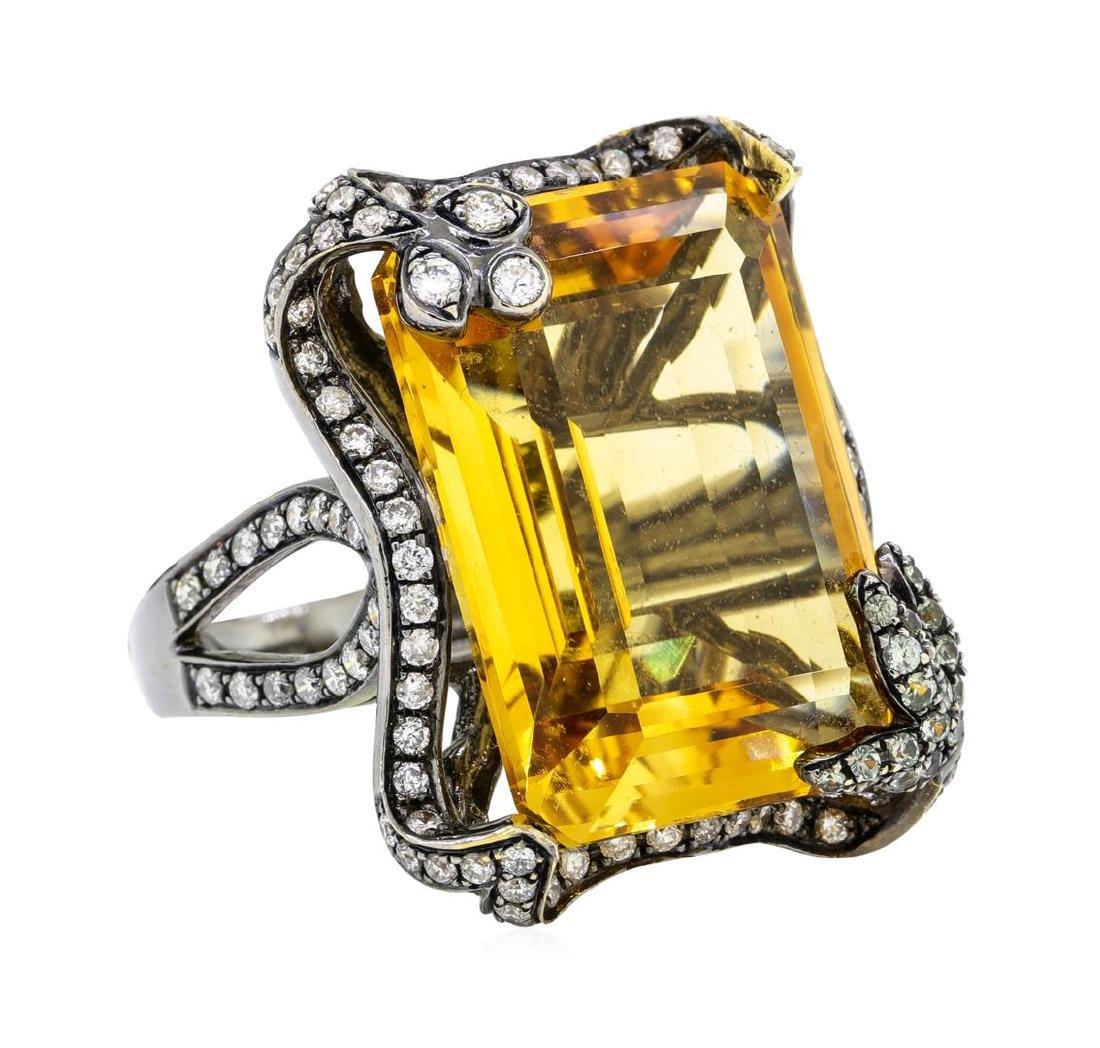 32.00 ctw Citrine And Diamond Ring - 18KT Black Rhodium
