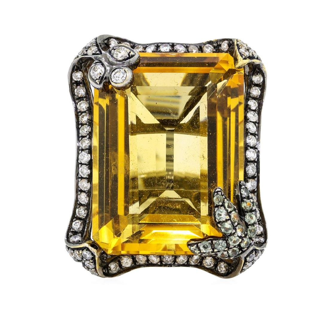 32.00 ctw Citrine And Diamond Ring - 18KT Black Rhodium - 3