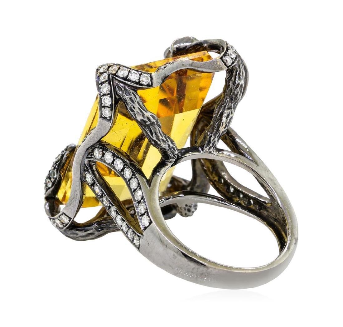 32.00 ctw Citrine And Diamond Ring - 18KT Black Rhodium - 5
