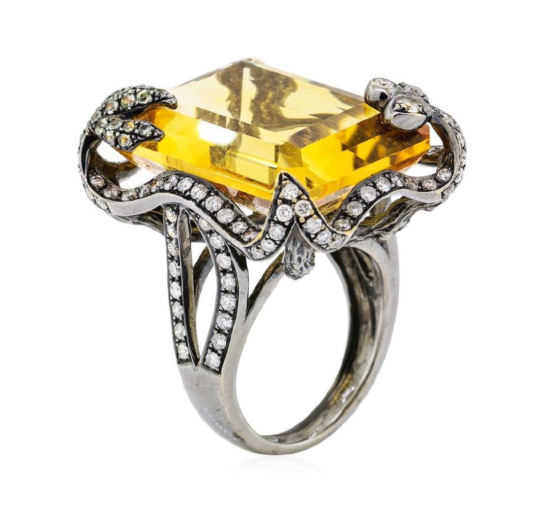 32.00 ctw Citrine And Diamond Ring - 18KT Black Rhodium - 7