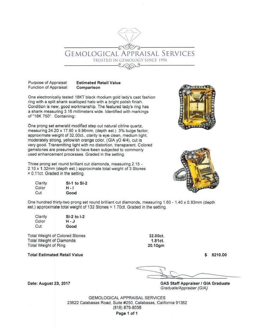 32.00 ctw Citrine And Diamond Ring - 18KT Black Rhodium - 9