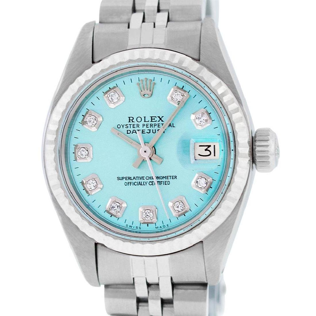 Rolex Ladies Stainless Steel Ice Blue Diamond 26MM