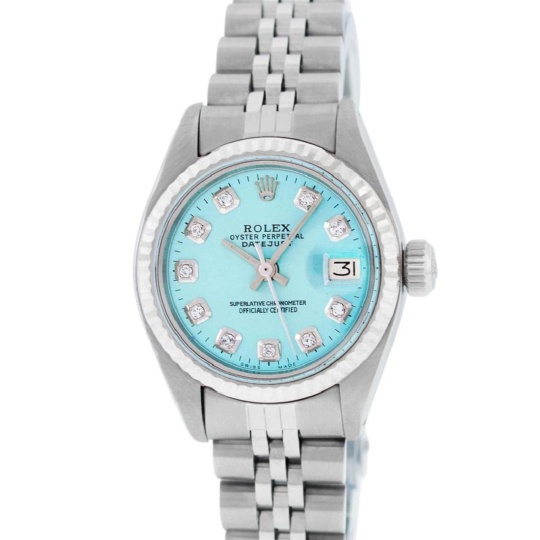 Rolex Ladies Stainless Steel Ice Blue Diamond 26MM - 2