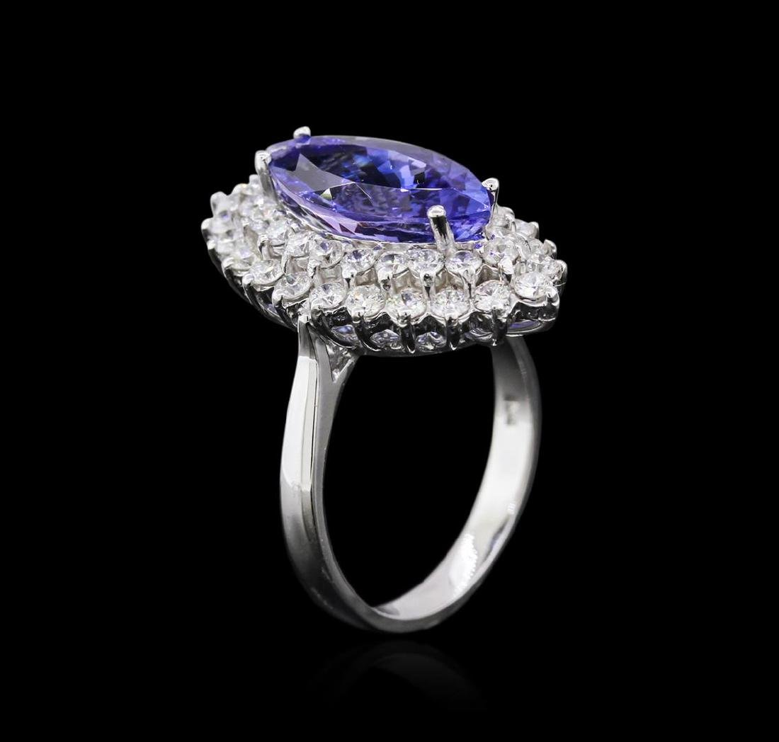14KT White Gold 3.85 ctw Tanzanite and Diamond Ring - 3