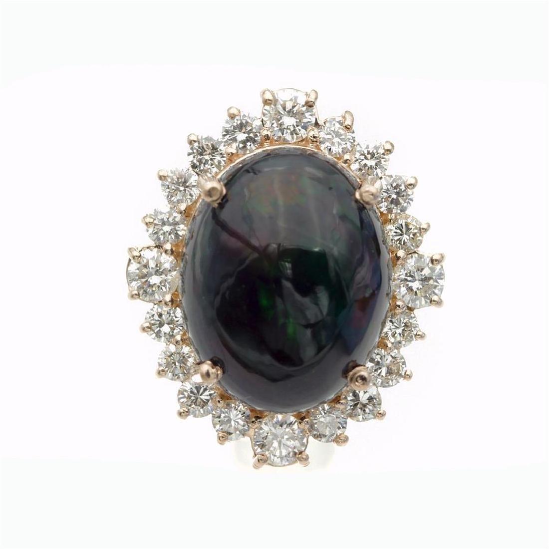 7.46 Carat Natural Diamonds & Opal Anniversary Ring in - 6