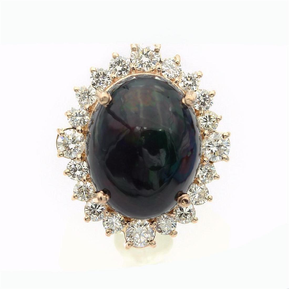 7.46 Carat Natural Diamonds & Opal Anniversary Ring in - 7