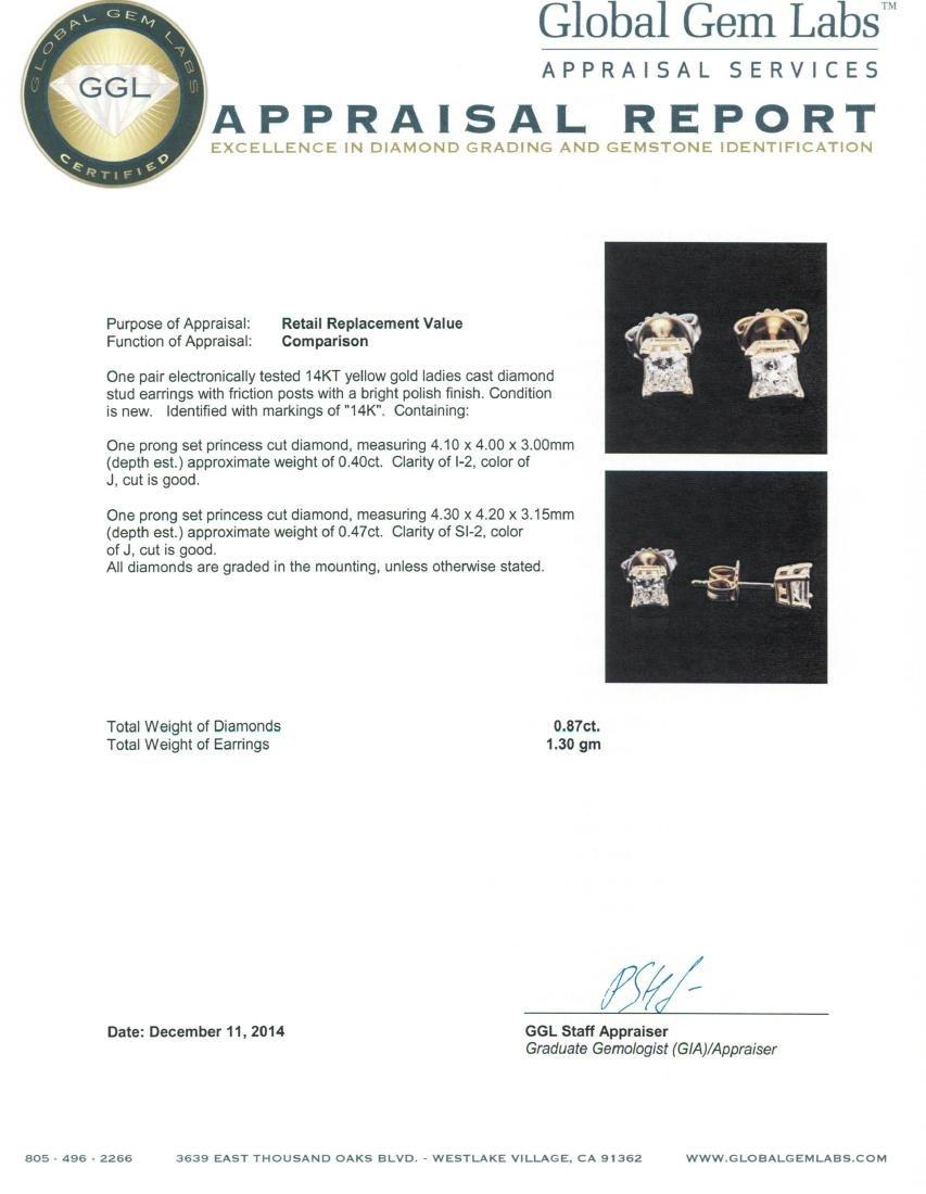 14KT Yellow Gold 0.87 ctw Diamond Stud Earrings - 3