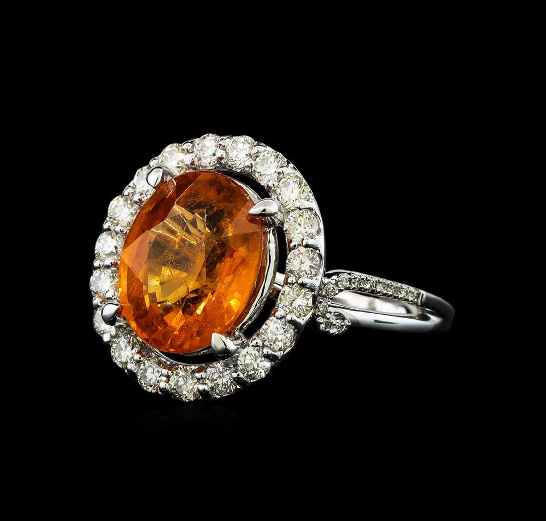 6.19 ctw Mandarin Spessartite and Diamond Ring - 14KT