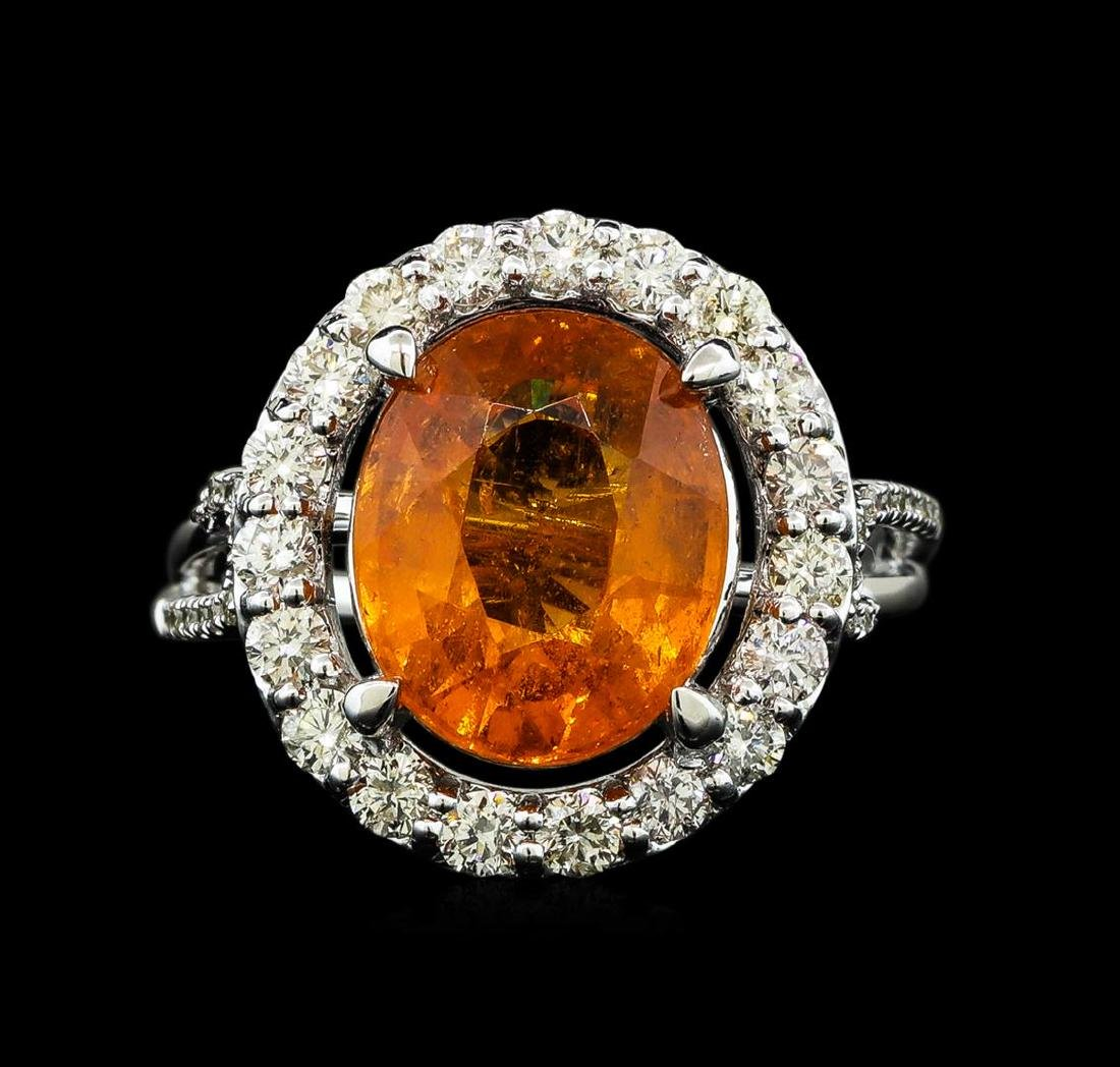 6.19 ctw Mandarin Spessartite and Diamond Ring - 14KT - 2