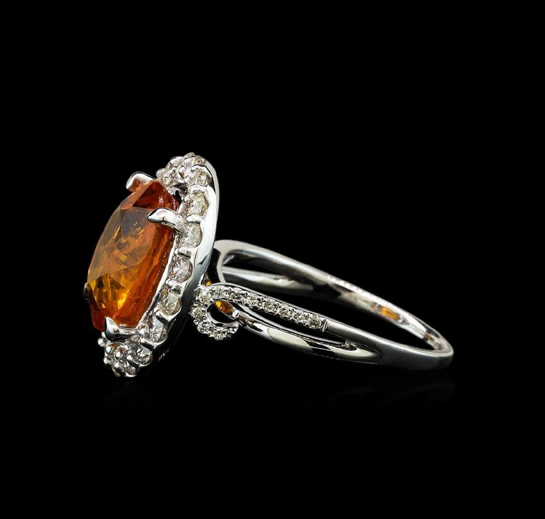6.19 ctw Mandarin Spessartite and Diamond Ring - 14KT - 3