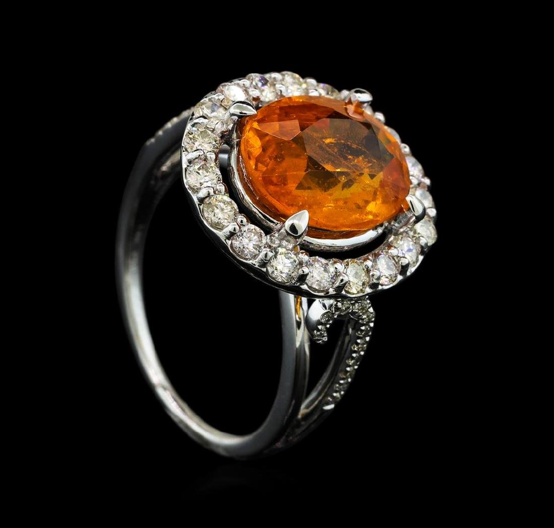 6.19 ctw Mandarin Spessartite and Diamond Ring - 14KT - 4