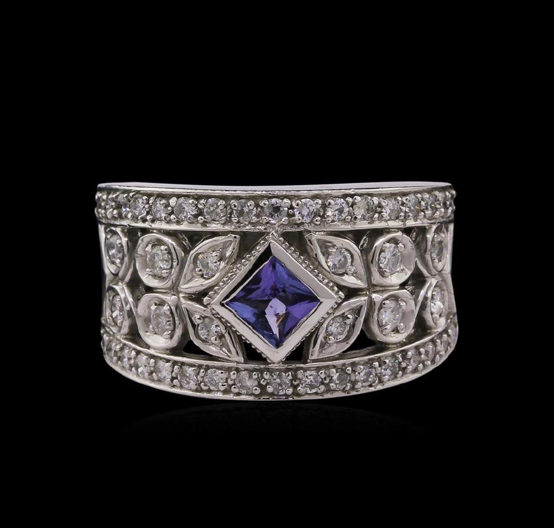 0.32 ctw Tanzanite and Diamond Ring - 14KT White Gold - 2
