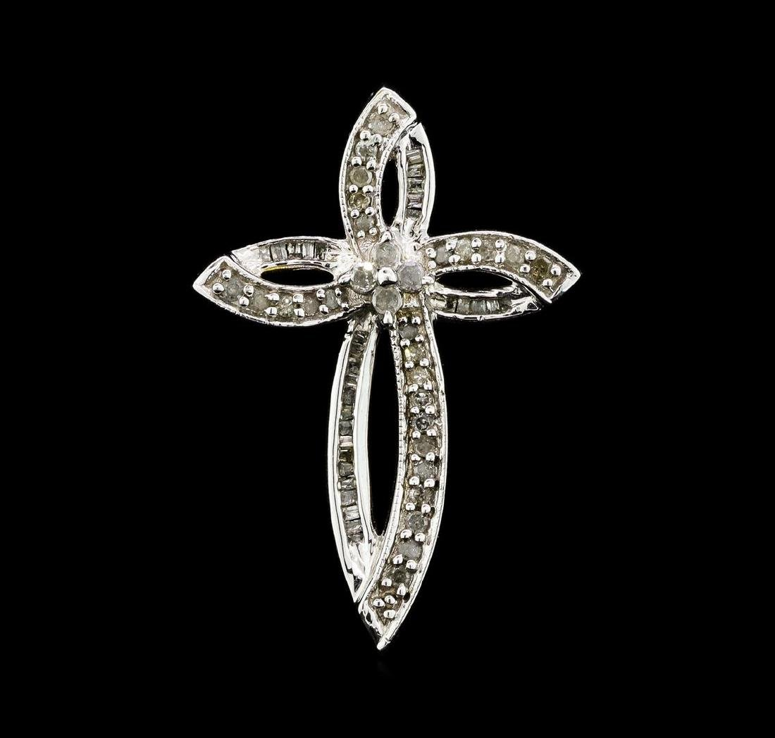 0.60 ctw Diamond Cross Pendant - 10KT White Gold