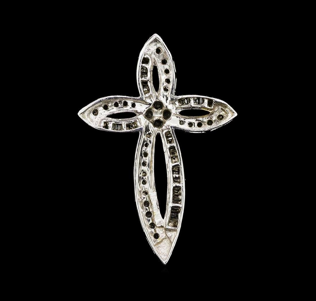 0.60 ctw Diamond Cross Pendant - 10KT White Gold - 2