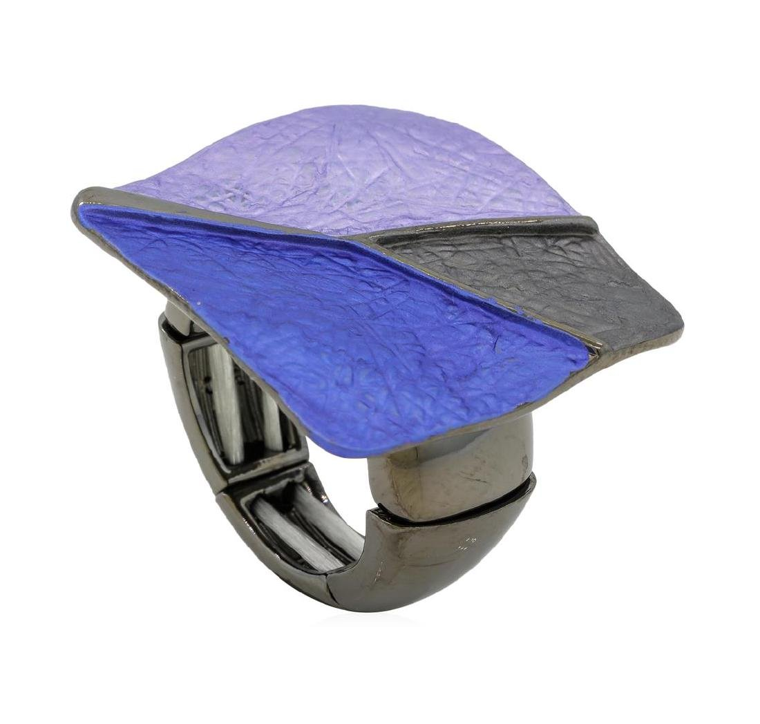 Tri Color Hand Painted Square Ring - Rhodium Plated - 4