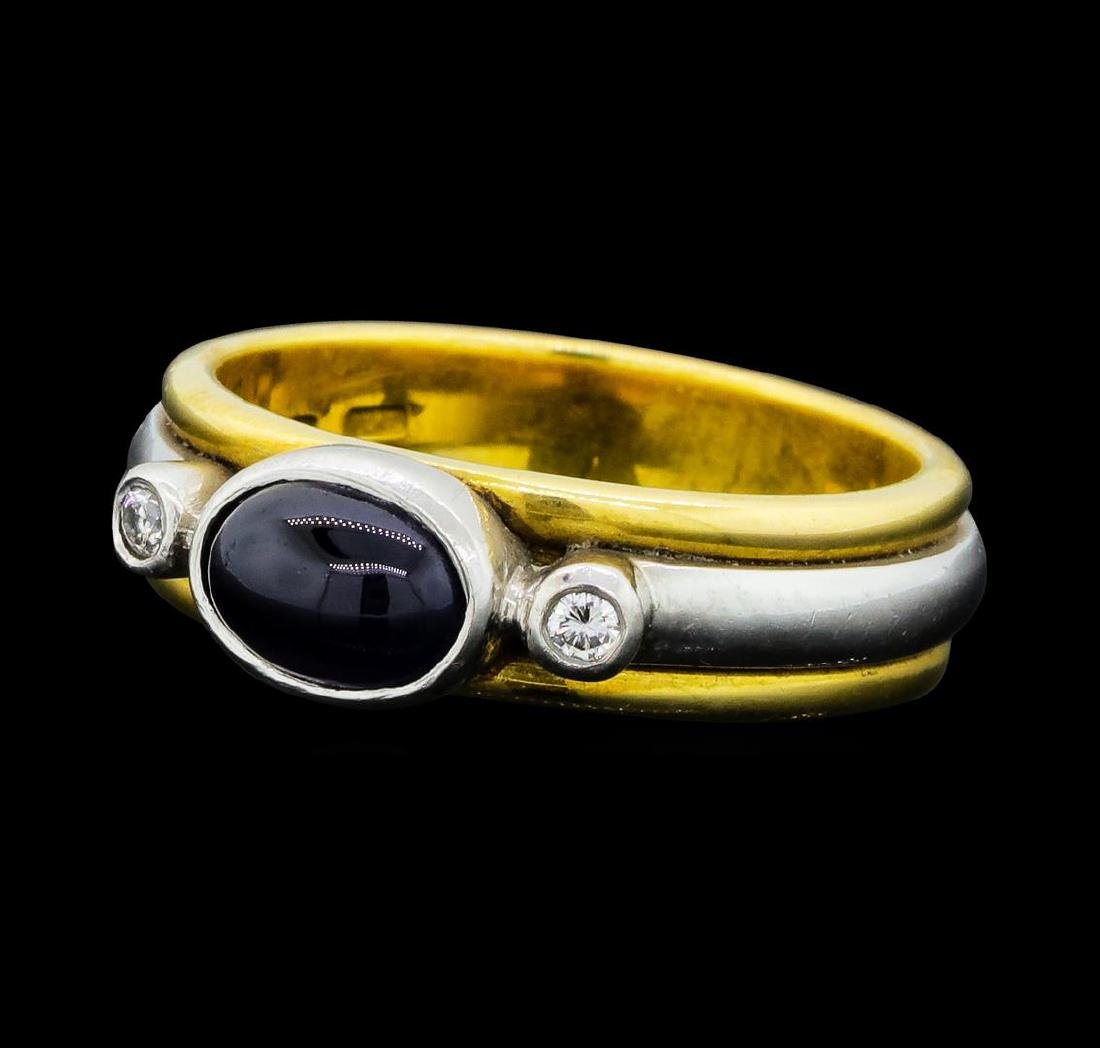 0.80 ctw Blue Sapphire and Diamond Ring - 18KT Yellow