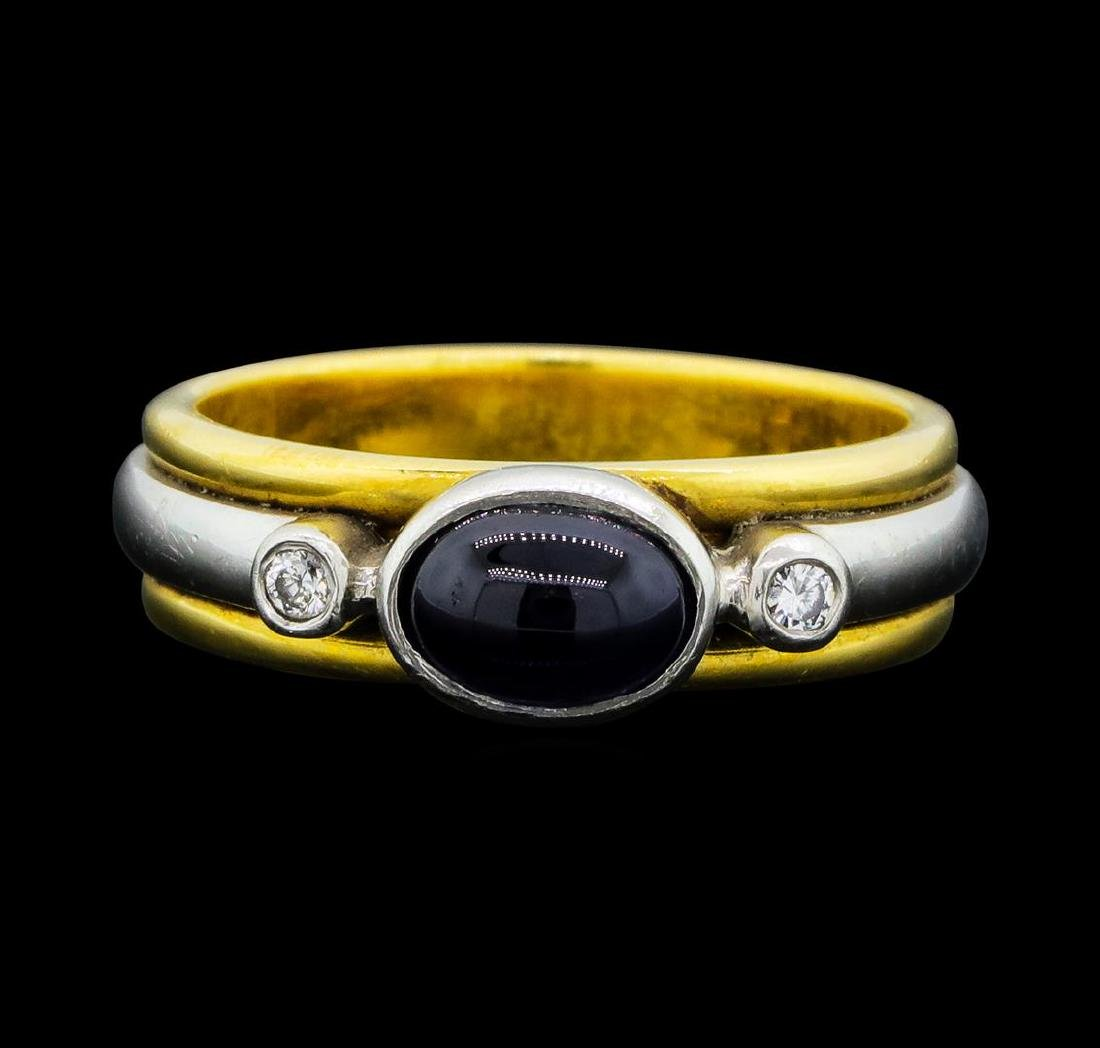 0.80 ctw Blue Sapphire and Diamond Ring - 18KT Yellow - 2