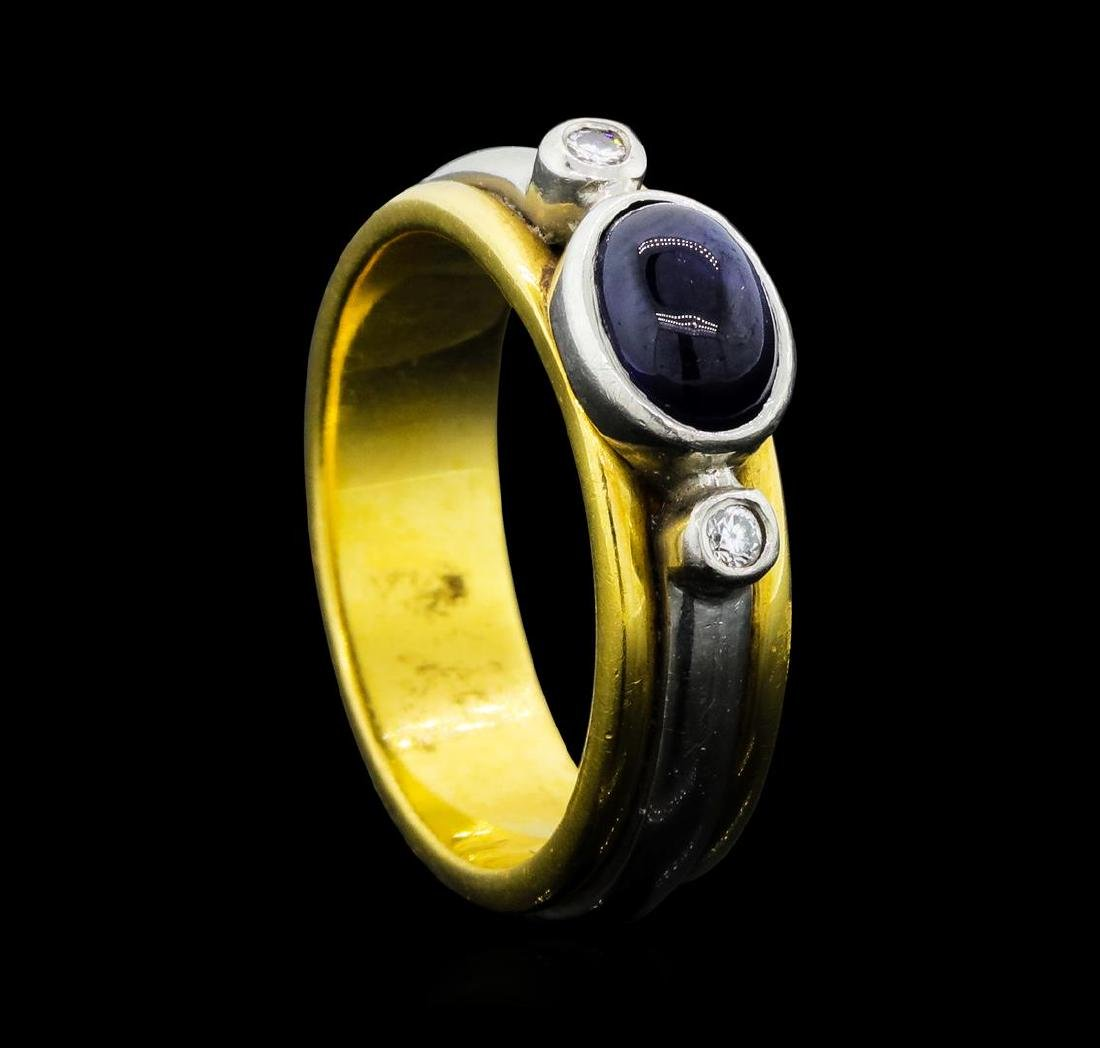 0.80 ctw Blue Sapphire and Diamond Ring - 18KT Yellow - 4