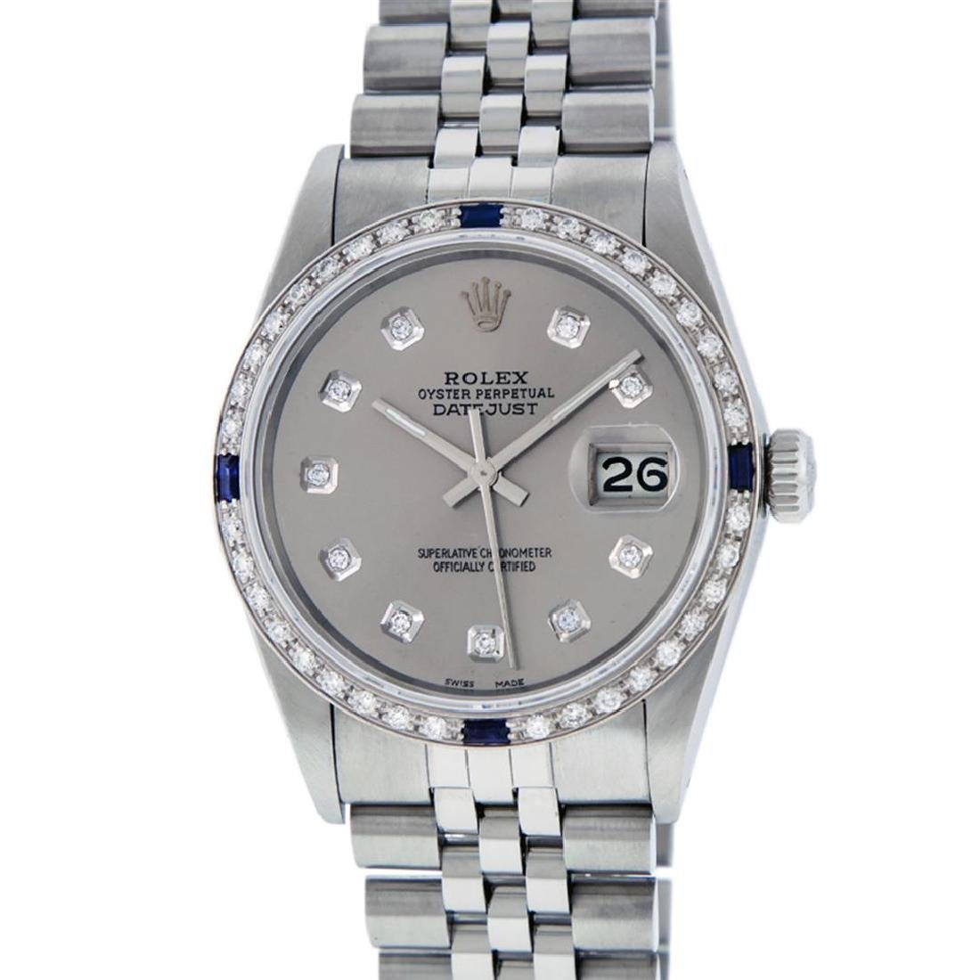 Rolex Mens Stainless Steel Gray Diamond & Sapphire 36MM
