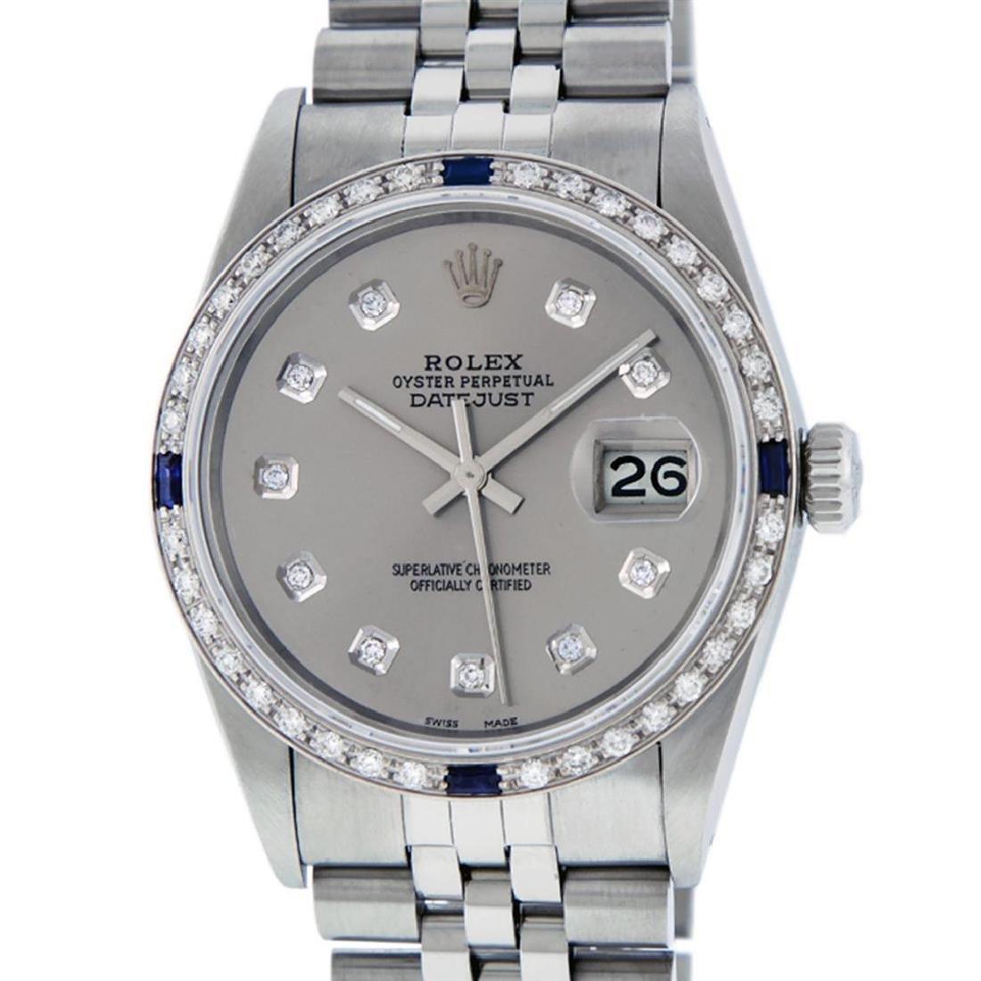 Rolex Mens Stainless Steel Gray Diamond & Sapphire 36MM - 2