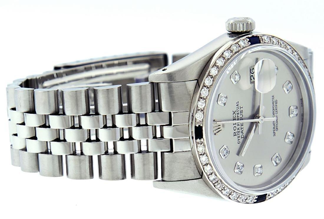 Rolex Mens Stainless Steel Gray Diamond & Sapphire 36MM - 3