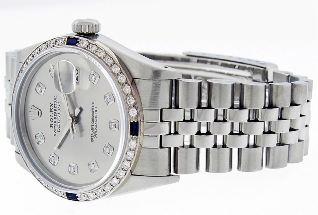 Rolex Mens Stainless Steel Gray Diamond & Sapphire 36MM - 4