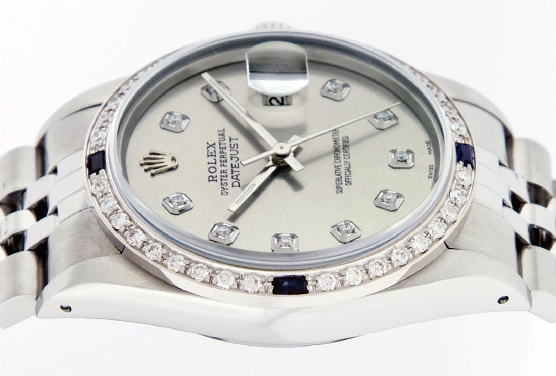 Rolex Mens Stainless Steel Gray Diamond & Sapphire 36MM - 5