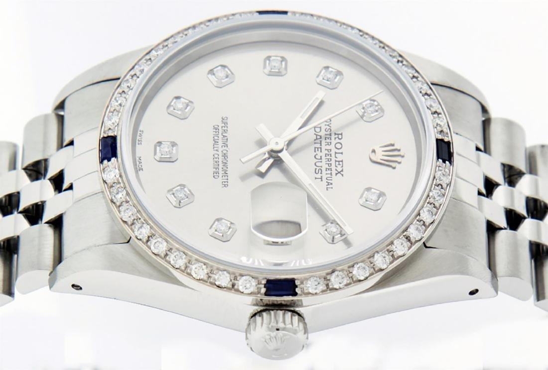 Rolex Mens Stainless Steel Gray Diamond & Sapphire 36MM - 6